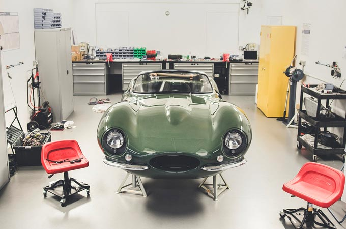 Front view of the Jaguar XKSS in factory