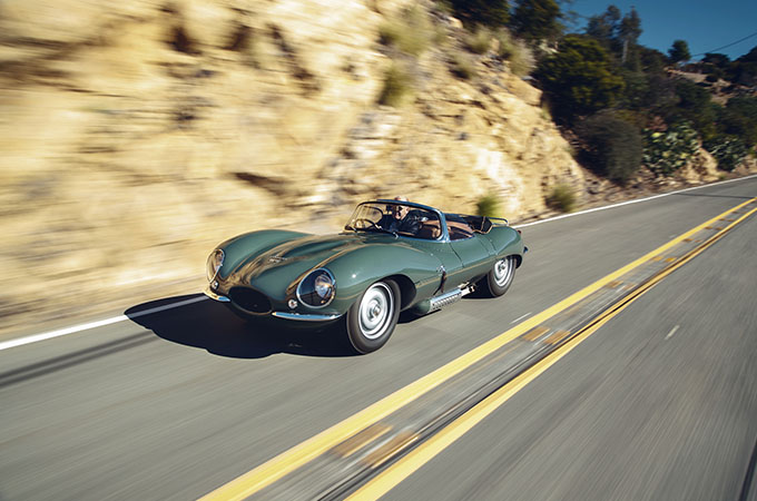 Front-side view of the Jaguar XKSS, driving on-road