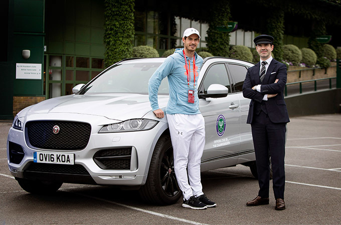 Andy Murray And Jimmy Carr Stood By A Jaguar F-PACE