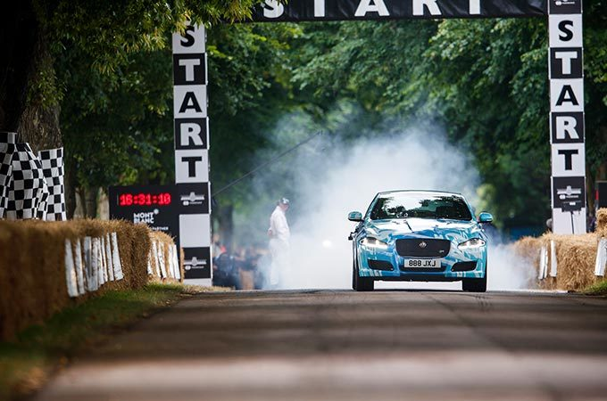 A Jaguar Driving at Goodwood Festival Of Speed 2017