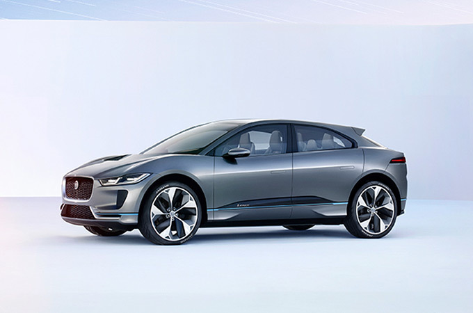 Side View Of A Silver Jaguar I-PACE.
