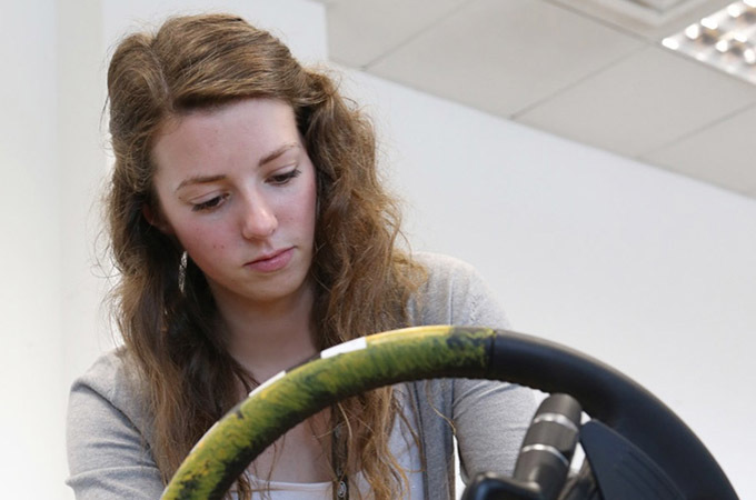 Emma Wildling With A Steering Wheel