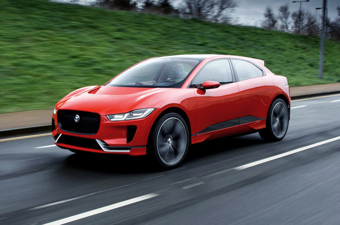 A Red Jaguar I-PACE