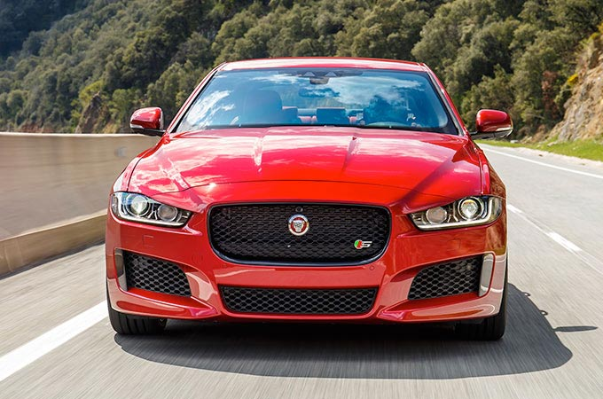 Front View Of Red Jaguar XE