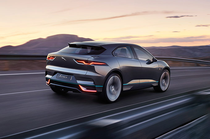 Rear View Of Grey Jaguar I-PACE