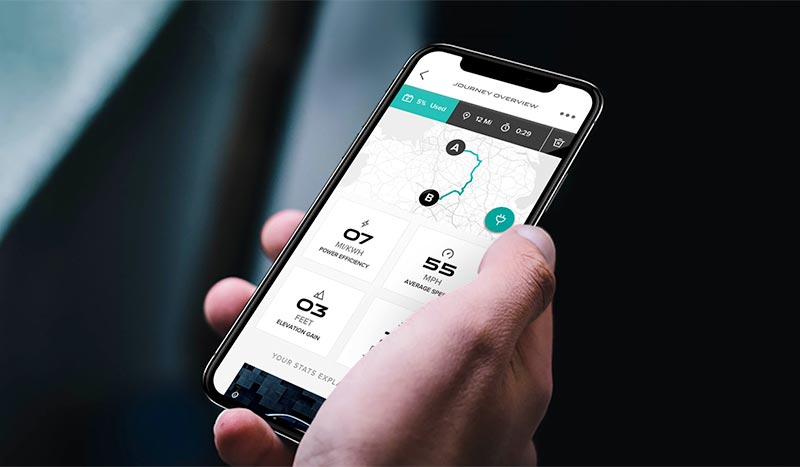 Jaguar Go I-PACE app being used on device.