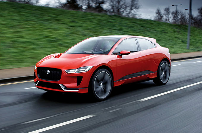 red i-pace on road