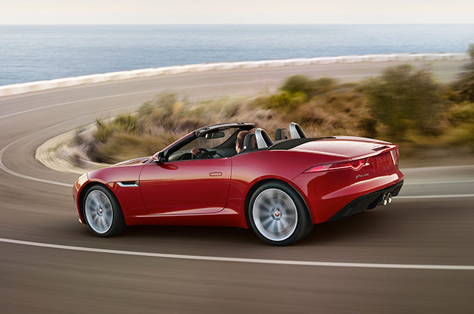 The F-TYPE driving around corner with Dynamic Stability Control in use