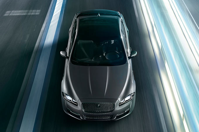 Overhead View Of Grey Jaguar XJ.