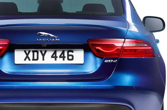 rear of a blue jaguar.