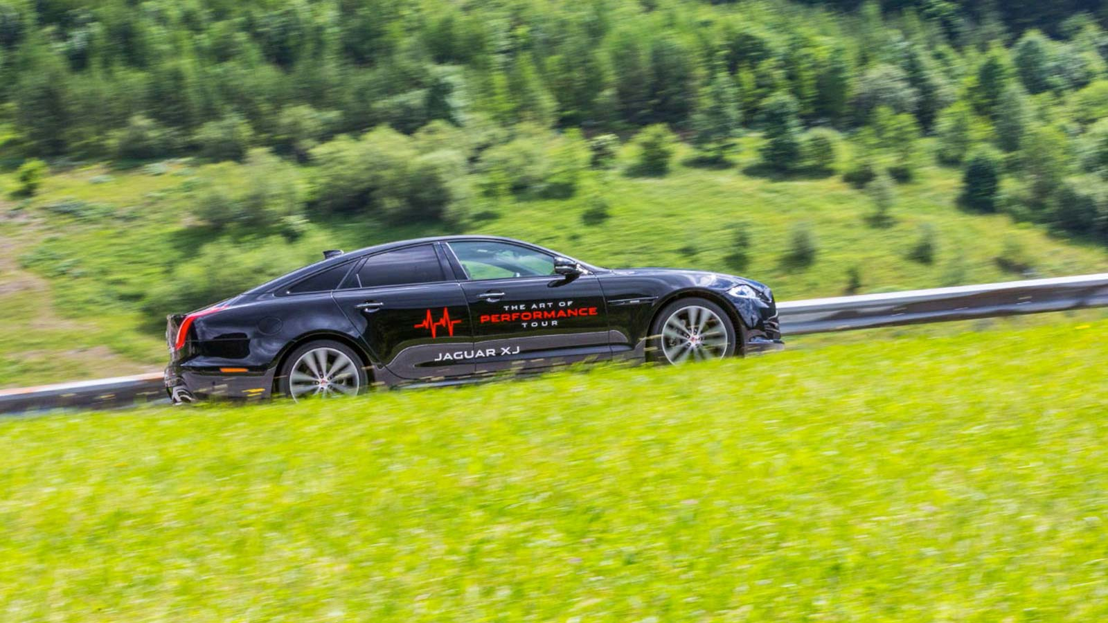 black car on the side in motion surrounded by greenery.