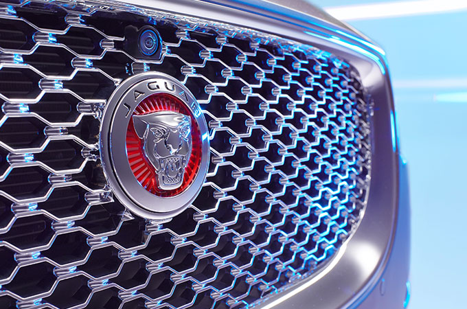 Jaguar logo on front of the Jaguar grill.