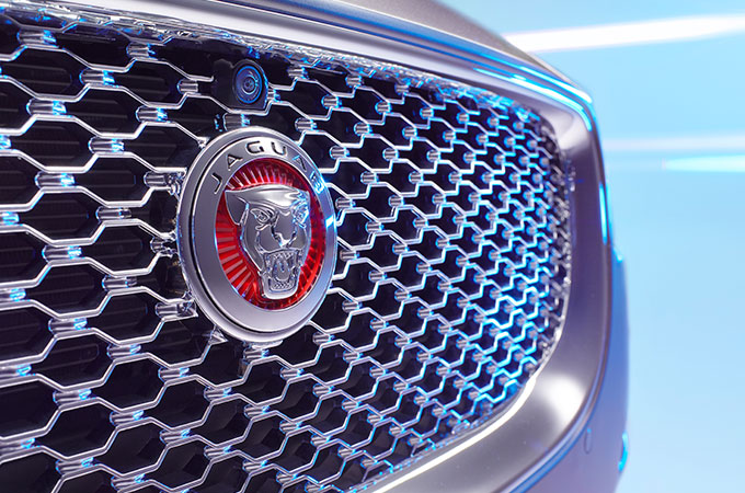 Front grill with the Jaguar logo