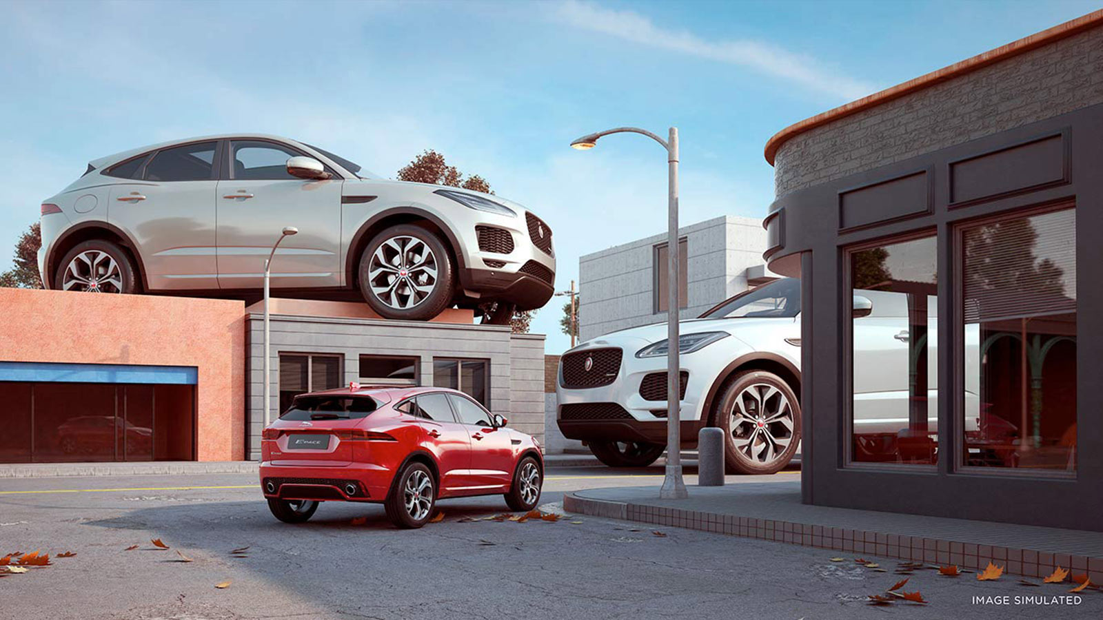 New Jaguar E-PACE is front and center (and top and bottom) in this CGI image by Chris Labrooy.