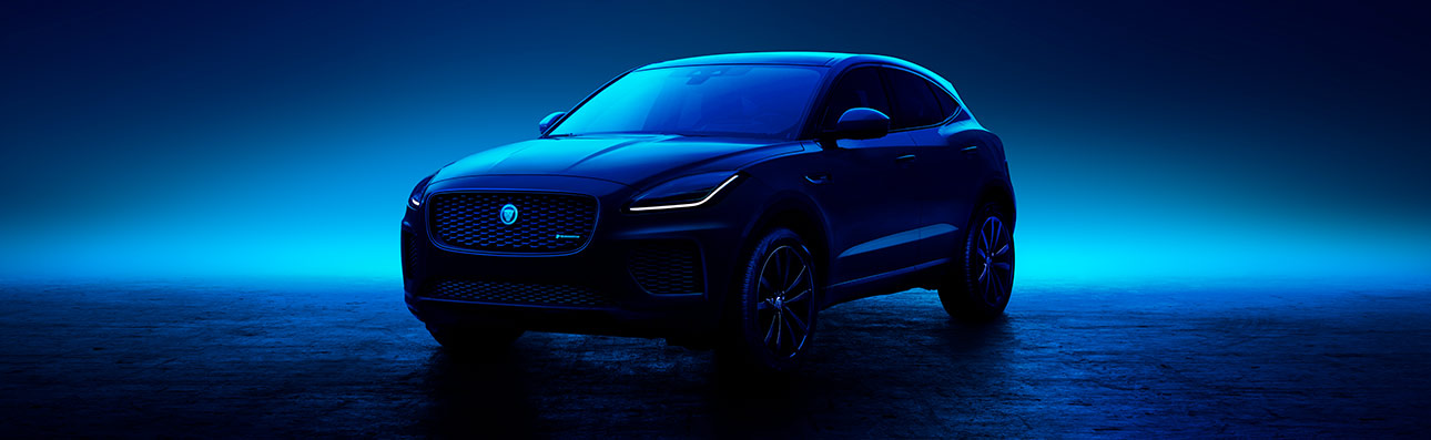 Jaguar E-PACE parked in mood lighting