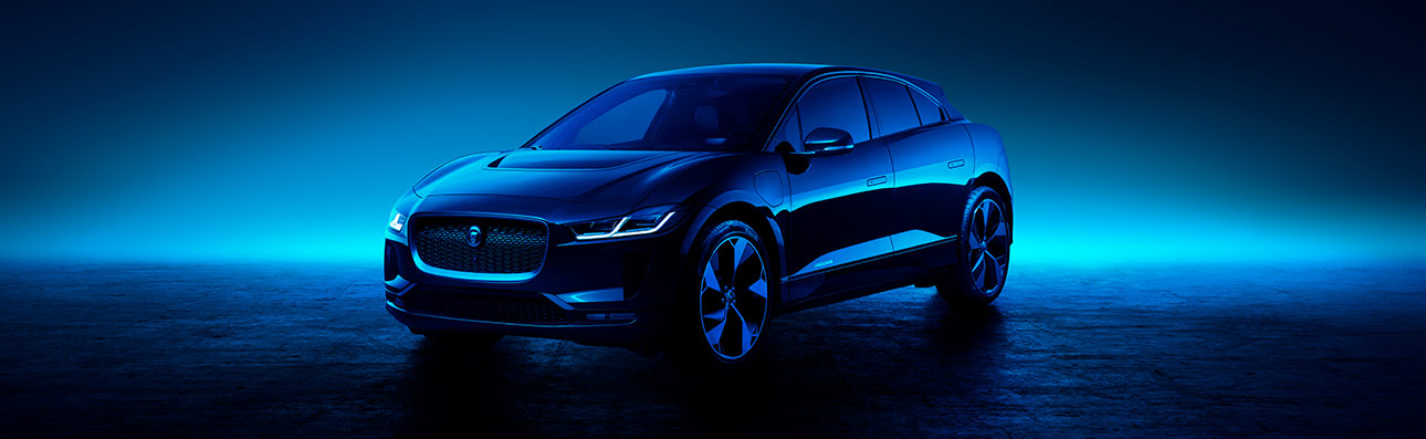 Jaguar I-PACE parked in mood lighting