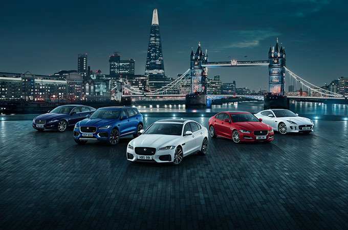Jaguar Family on display in London.