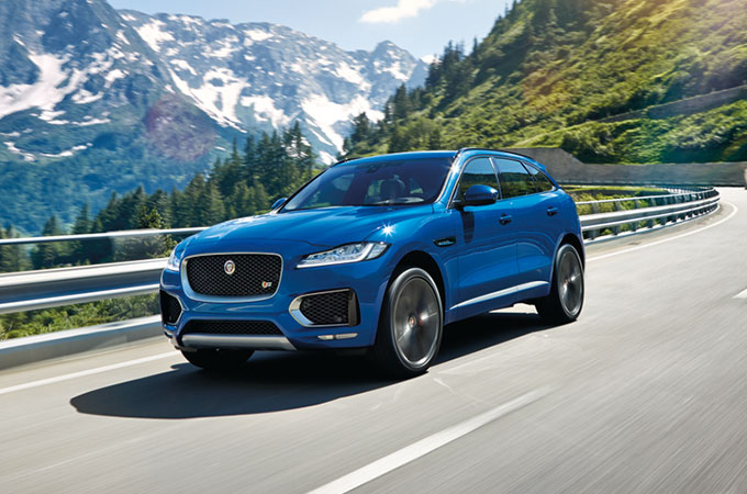 Jaguar AWD Driving on a mountain road.