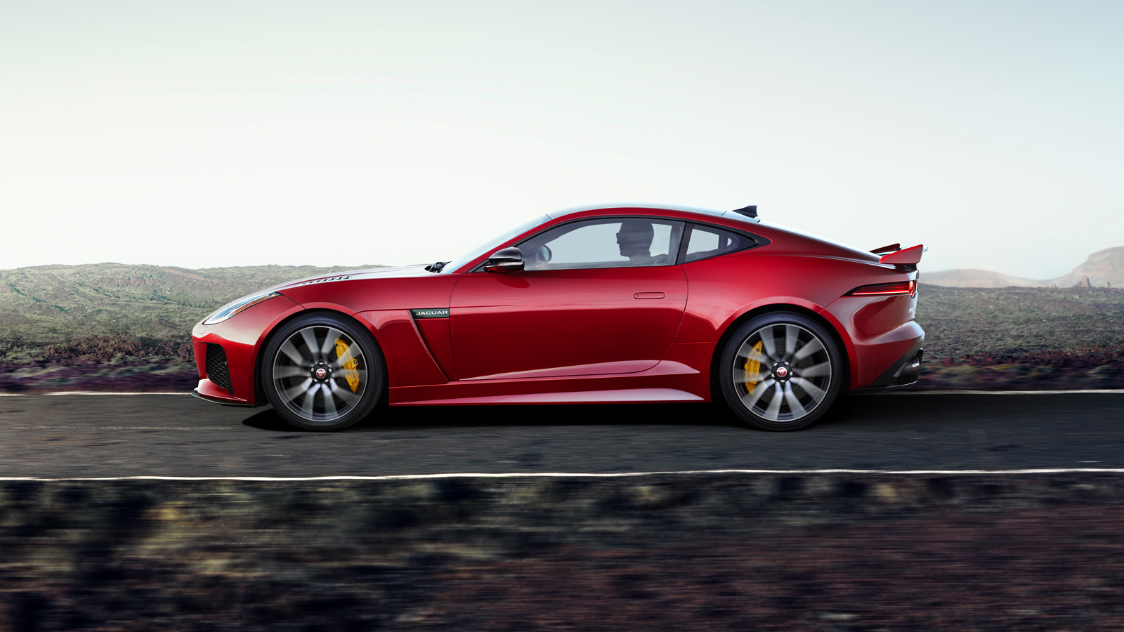 F-TYPE SVR in Caldera Red Side View