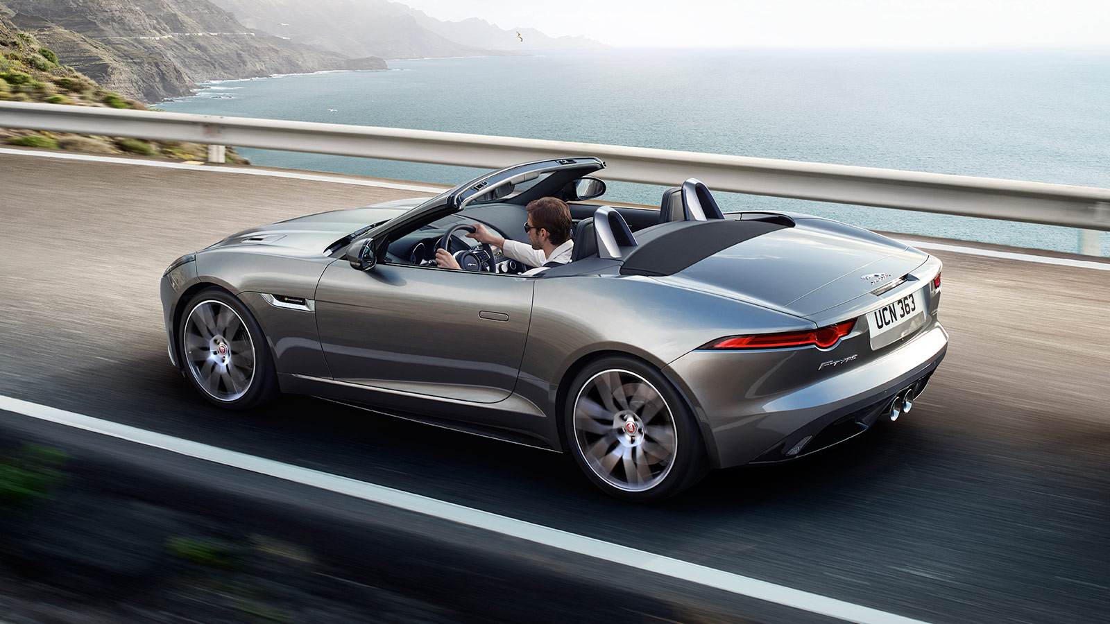 F-TYPE R-Dynamic in Silicon Silver In-Motion by the Ocean