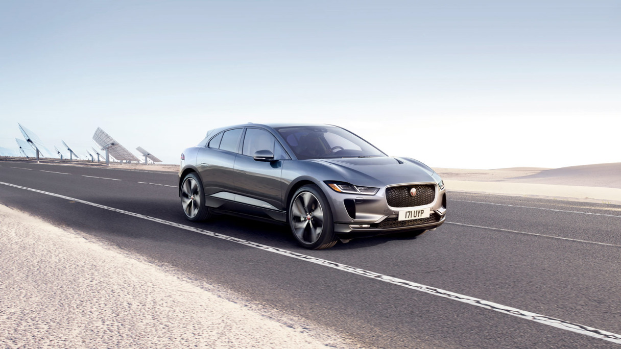 Side-front view of the Jaguar I-PACE Concept, driving on-road.