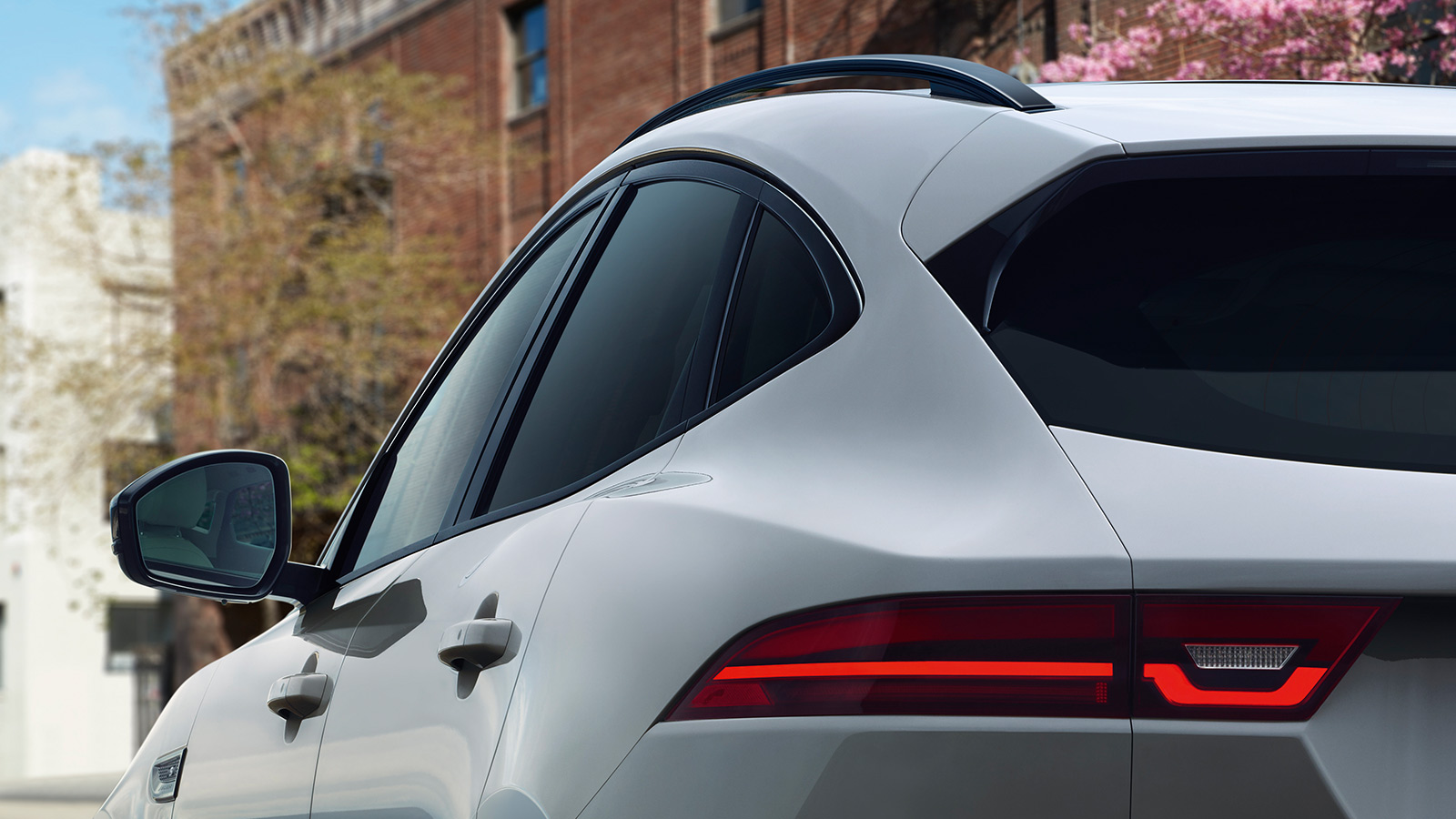 The E‑PACE S in Borasco Grey with optional features fitted.