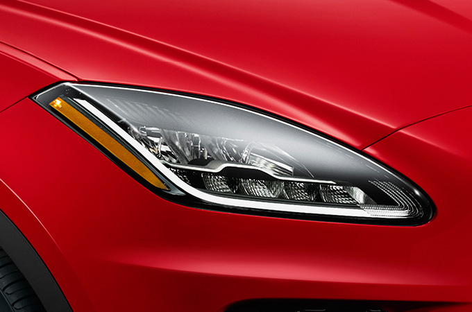 Headlight of red E-PACE.