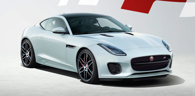 Jaguar F‑TYPE CHEQUERED FLAG COUPÉ parked on a gravelly surface