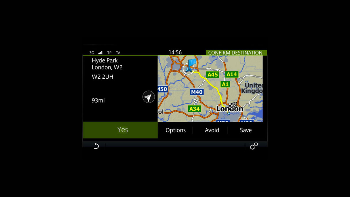 Navigation Incontrol Touch screen.