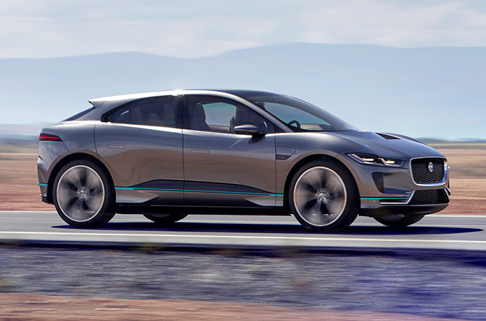 I-PACE driving in desert.