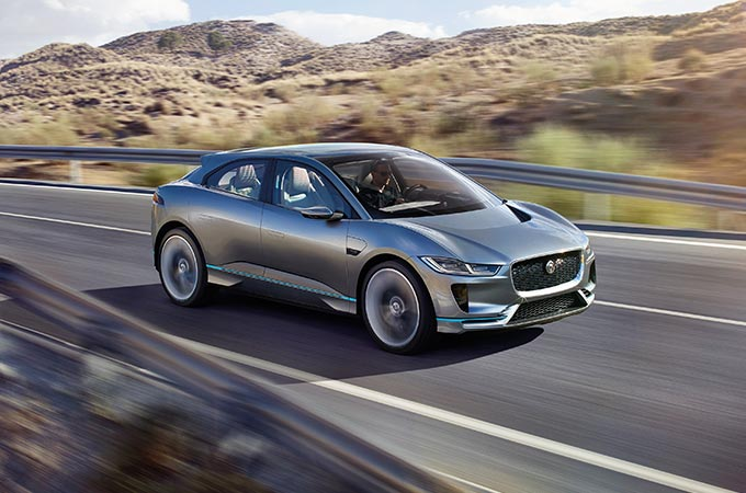 I-PACE Concept driving in desert.