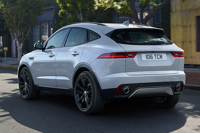 Rear view of White E-PACE.