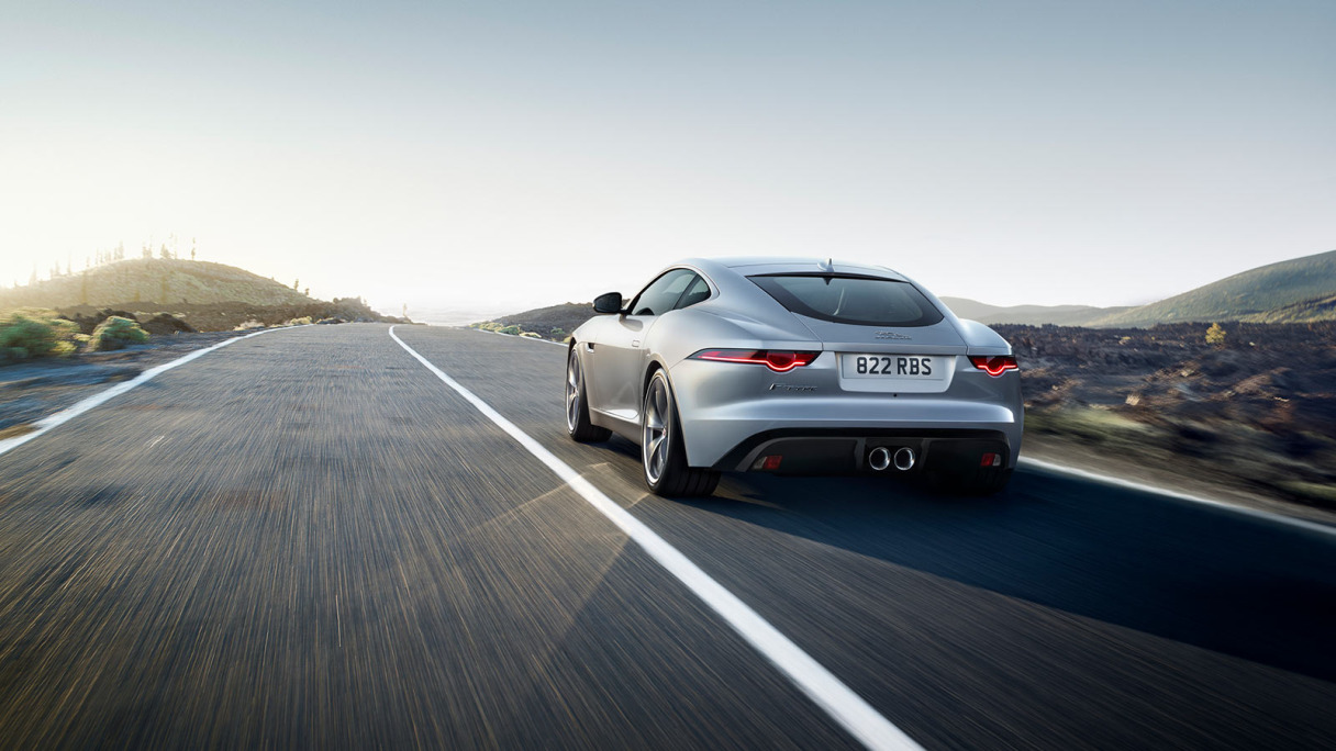 Rear view of silver F-TYPE.