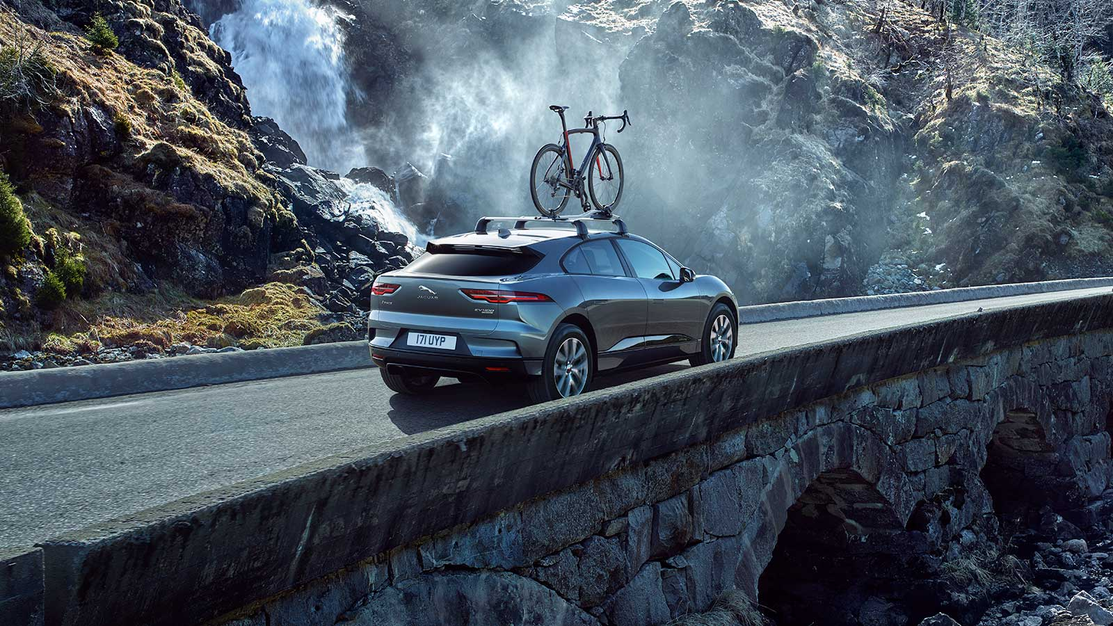 Jaguar I-PACE with bicycle attachment.