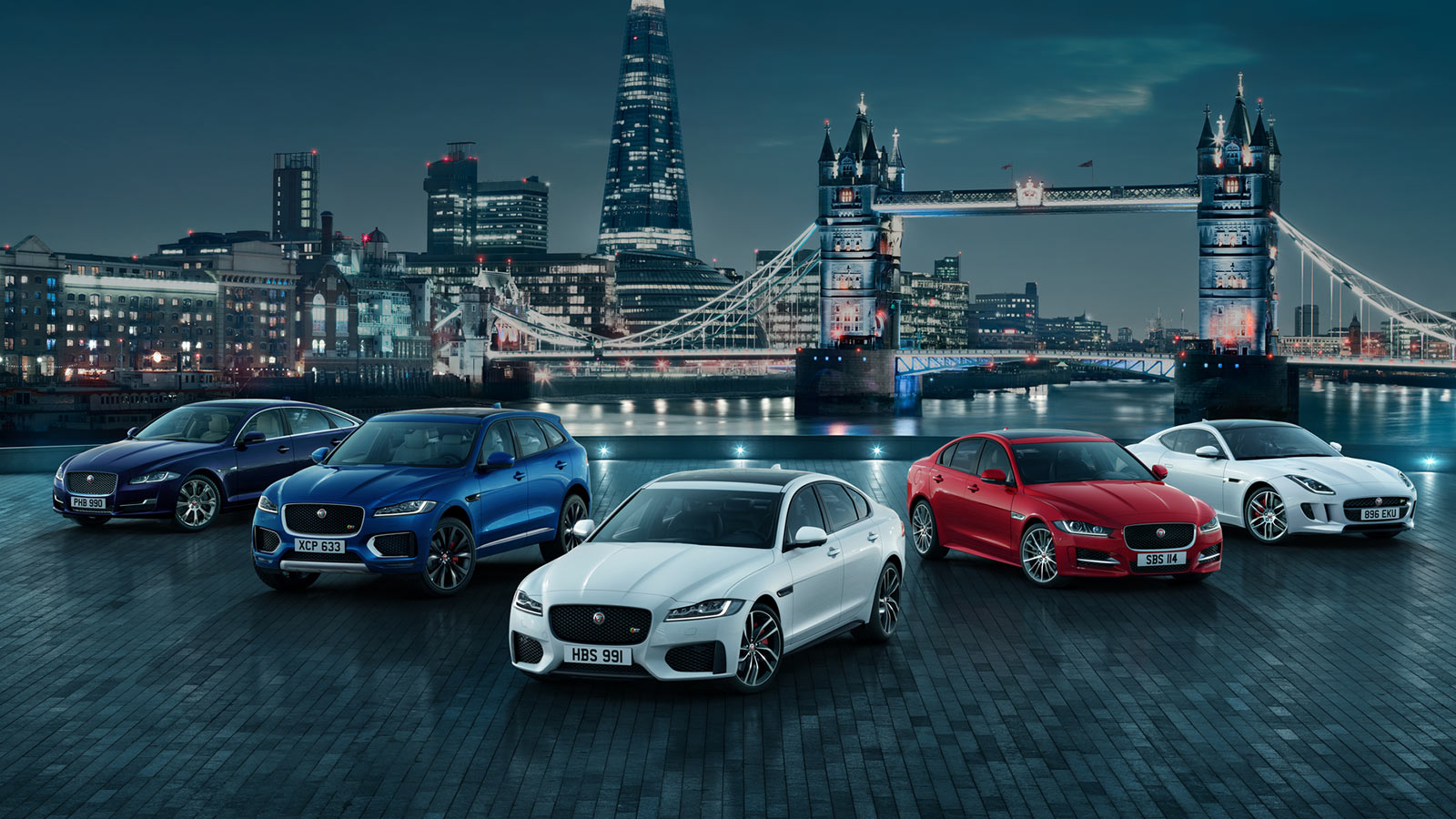 Jaguar range on display in London.