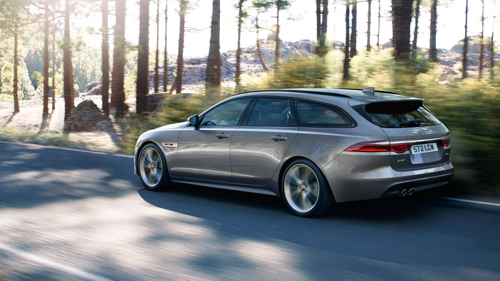 Grey Jaguar XF Driving By Trees