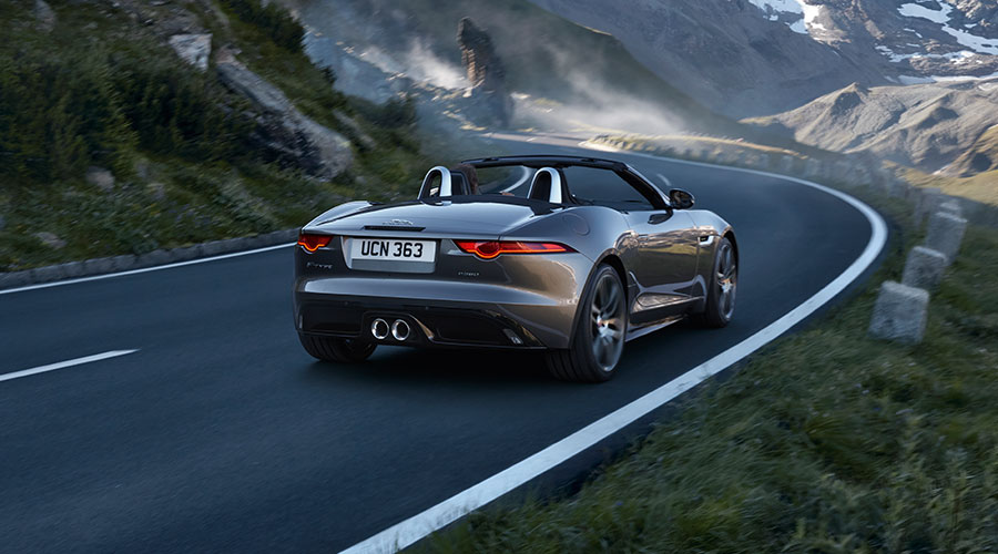 F-TYPE on a country road, in motion.