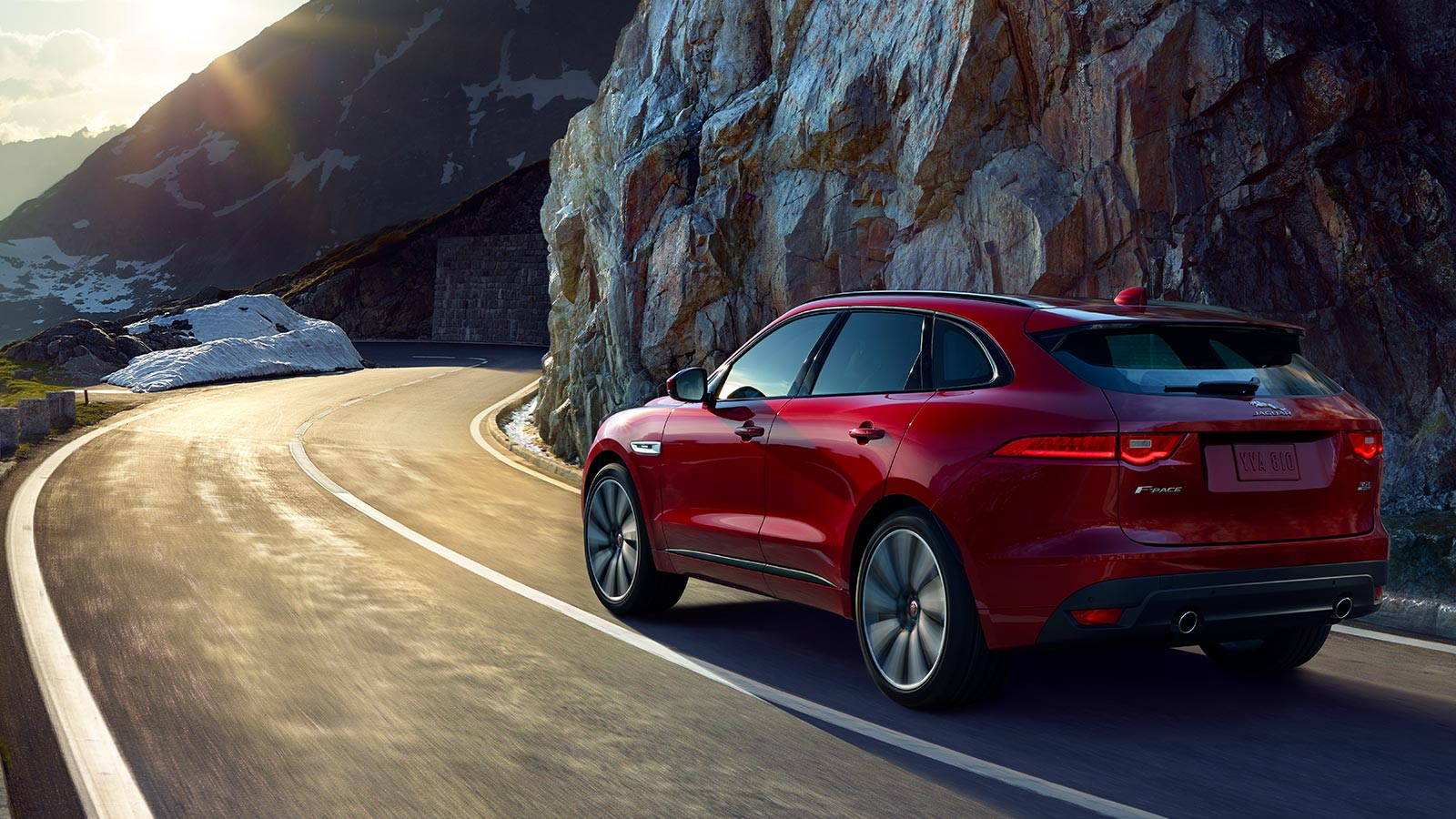 Jaguar F-PACE Red Exterior on road.