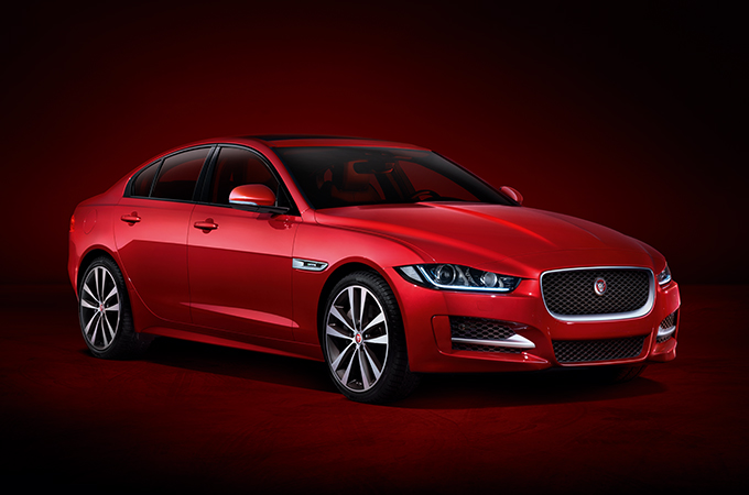 Jaguar XE in Caldera Red.