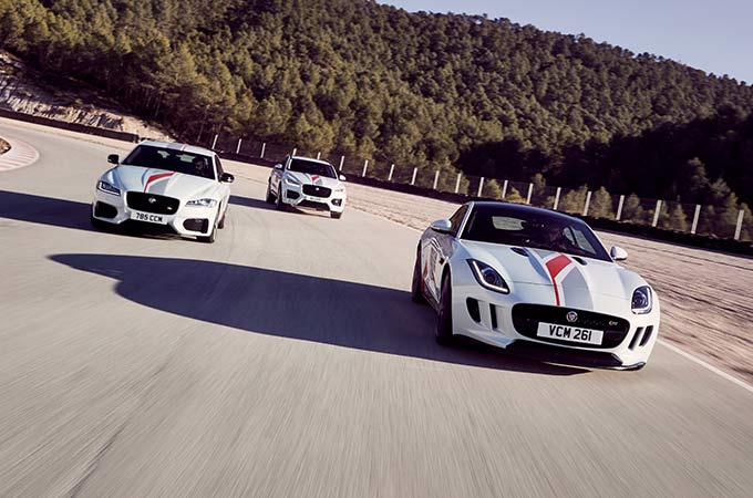 Jaguar F-TYPE Performance driven on race track.