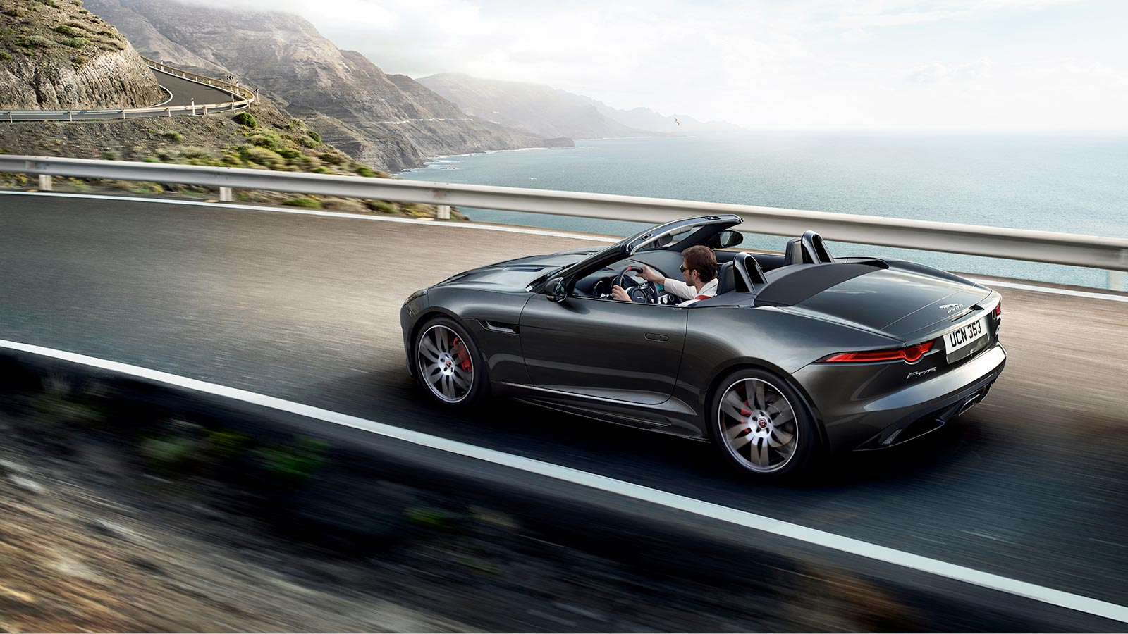 Black F-TYPE Checkered Flag Convertible In-Motion