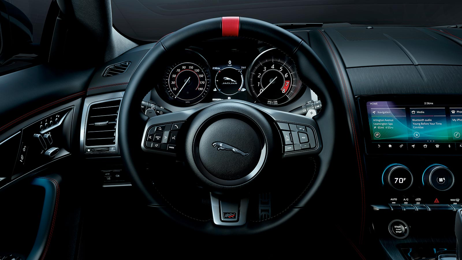 F-TYPE Interior in Ebony Windsor Leather with Red Stitch