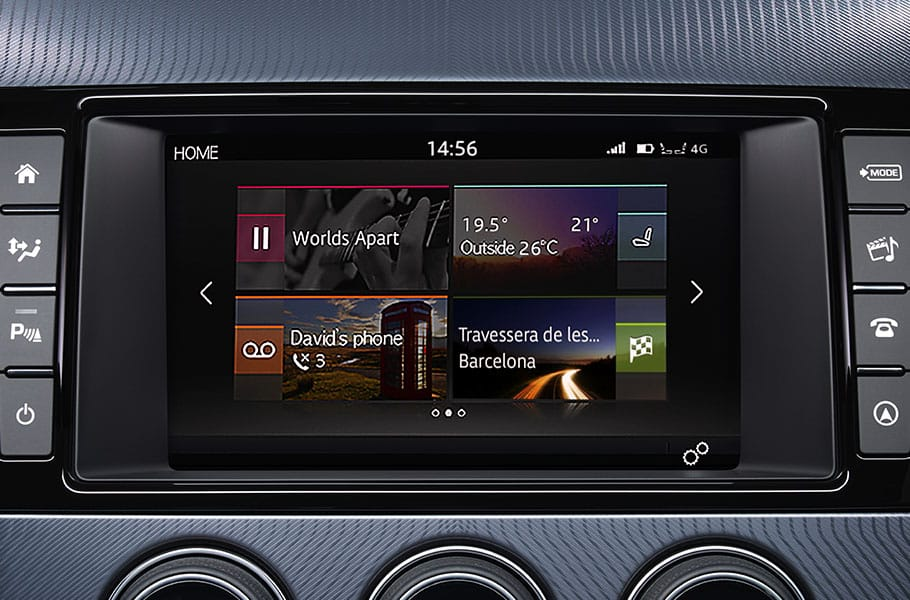 A screen inside the Jaguar F type sports car showing incontrol touch pro technologies